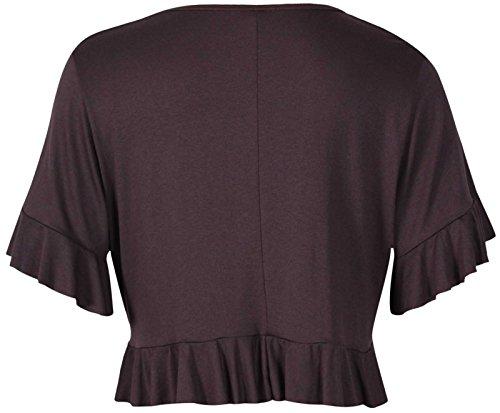 Purple Hanger - Boléro Cardigan Femme Manche Courte Extensible à Volants Devant Uni Grande Taille Brun Foncé