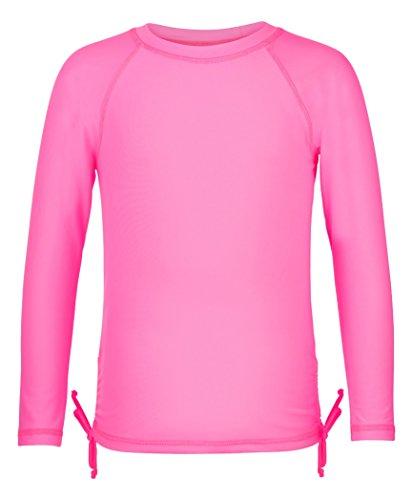 Snapper Rock Mädchen UPF 50+ Sonnen und UV Schutz Schwimmshirt langer Arm Rash Top für Kinder & Teenager, Fuschia Neon, 4-5 jahre, 104-110cm (Guard Rash Kleinkind Mädchen)