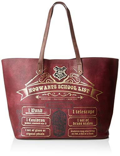 f8c8190e49dd2 Bioworld Merchandising femme Sac Cabas Harry Potter - Hogwarts School List  Cabas Rouge (Bordeaux)