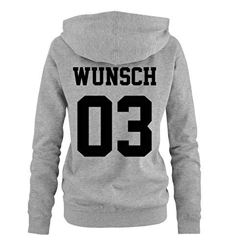 Comedy Shirts - Wunsch - Damen Hoodie - Grau/Schwarz - Gr. M