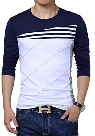 Seven Rocks Men Cotton Striped Panelled T-Shirt (Navy Blue, Small)