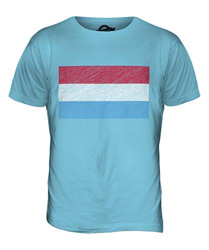CandyMix Luxemburg Kritzelte Flagge Herren T Shirt Himmelblau