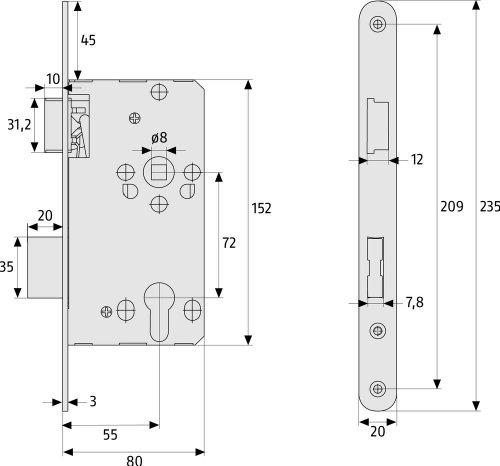 ABUS Tür-Einsteckschloss Profilzylinder TKZ20, für DIN-links Türen, silber 21038 - 2