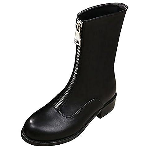 CHNHIRA Femme Martin de bottes Boots bout rond Bottines Chaussure