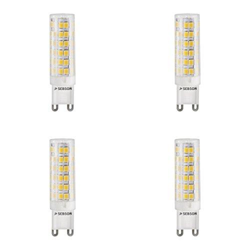 SEBSON LED Lampe G9 warmweiß 5w, ersetzt 40W Glühlampe, 400 Lumen, LED Leuchtmittel 280°, 4er Pack