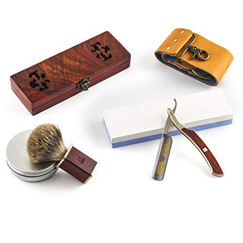 """A.P. Donovan - 5/8"""" Rasiermesser Set   inkl. Leder-Streichriemen, Pinsel, Seife und Schleifstein   Mahagoni-Holzgriff   Goldätzung   Bartpflege für den Mann   Komplett Set"""