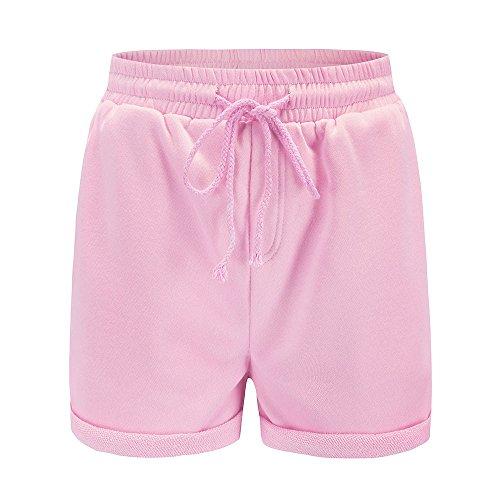 HROIJSL Frauen-heiße Hosen beiläufige lose Kurzschlüsse Strand-Mädchen-hohe Taillen-Kurze Hosen Gerollte Hotpants für den Strand Schwimmshorts Damen Shorts atmungsaktive Sporthose - Womens Designer-bermuda