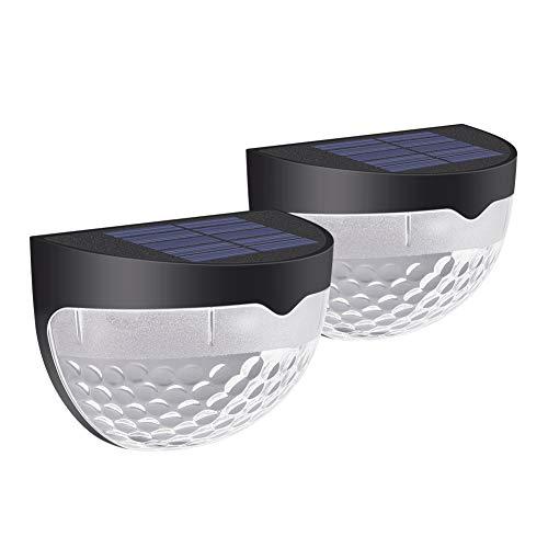 Solarleuchte für Außen, 2 Stück RGB LED Solar Garten Licht mit 6 LED-Lampen Wandleuchte SunPower Solarlicht, Halbkugel Wasserdichte Solarlampen Sicherheitslicht für Haus Pfad Zaun Wand Garage