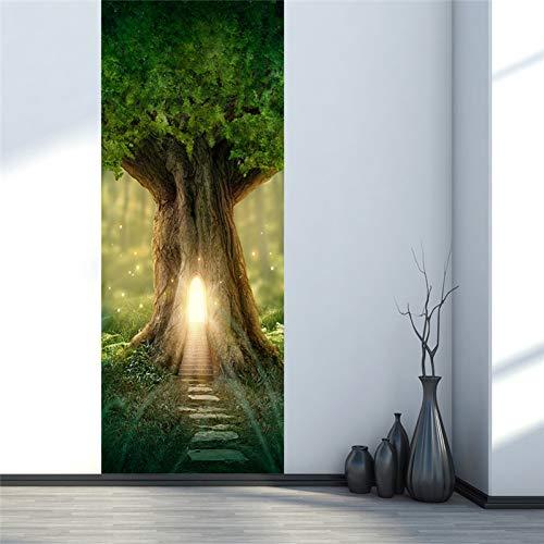 YOYODECOR Door Posters 3D Tür Aufkleber Lustige Tür Fenster Kühlschrank Dekorationen für Kinderzimmer Wohnkultur Große Grüne Bäume Lichter Muster 2018 - Licht Grüne Bäume