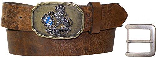 FRONHOFER Trachtengürtel Herren Bayern Schnalle, Schließe mit bayerischen Löwen blau weiß, Gürtel Herren Tracht schwarz, braun, dunkelbraun, 17502, Größe:Bundweite 120 cm, Farbe:Taupe