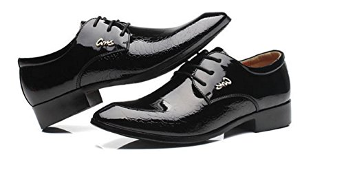 HYLM Il nuovo modello di coccodrillo Solid Color Business Shoes scarpe da sposa Scarpe da uomo casual Scarpe da mare Black