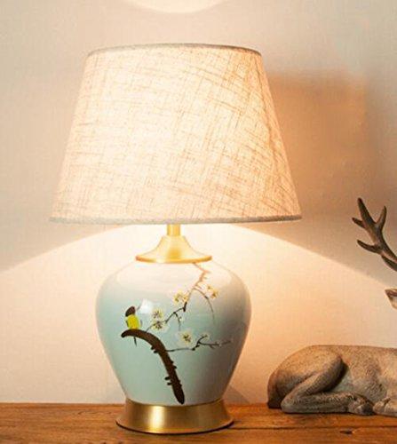 Moderne Chinesische Keramik Tischlampe Kupfer Tuch Handgemalte Blumen Und Vögel Hotel Studie Ausstellung Wohnzimmer Schlafzimmer Nachttischlampe E27 51 * 35 cm