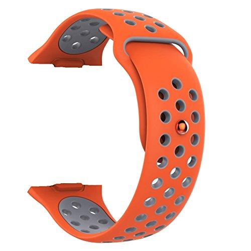 Silicone two-color replacement cinturino sport band wristband strap cover con fibbia regolabile per fitbit lonic smart watch small size, orange+gray