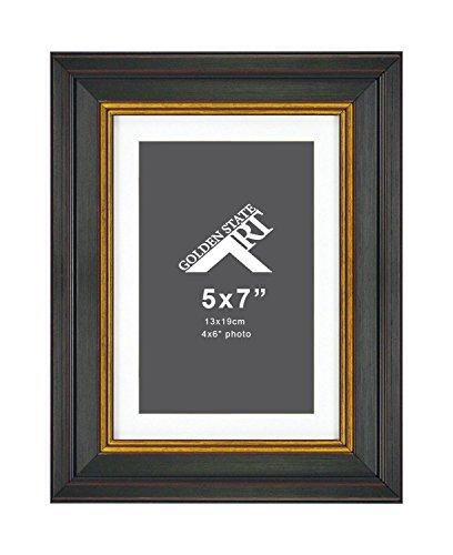 �x 7Rahmen für 4x 6Foto mit Weiß Matte, Schreibtisch Staffelei, & Echtglas (Vertikal + Horizontal), Sonstige, Black With Gold & Burgandy, 5x7 for 4x6 Photo ()