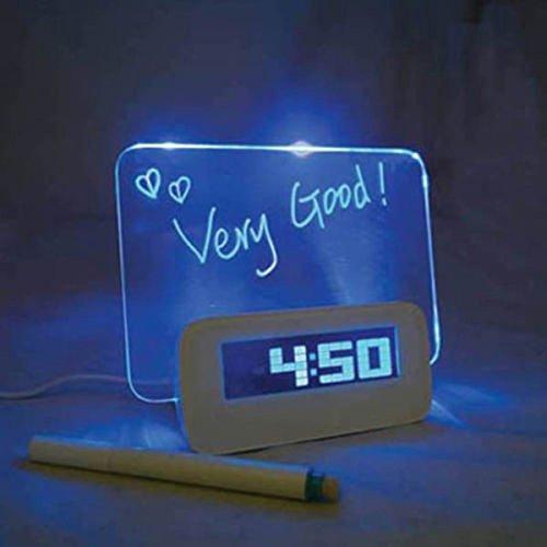 ZJstyle® Creative-USB / batteriebetriebene Message Board Alarm Clock Table Clock LED-Blaulicht Clock Fluorescent Message Board Wecker-Digital-Kalender Tischuhr mit drei Gruppen von Alarm und Snooze-Funktion (Blaues Licht) Led Message Clock