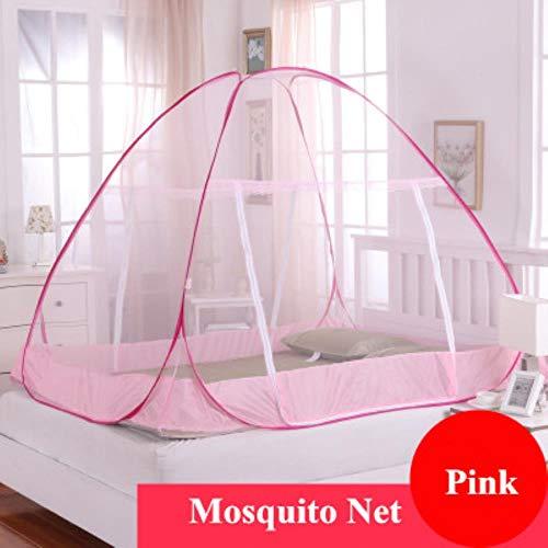 Fimqb zanzariere pieghevoli portatili da vendere, zanzariera portatile per letto matrimoniale, zanzariere, zanzariere letti per adulti, rosa, 1,5 m (5 piedi) letto
