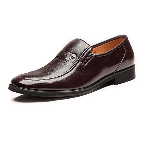 Hilotu Müßiggänger,Stilvolles Lederkleid Casual Slipper für Männer Cap Toe Slipper Loafers Schuhe (Color : Braun, Größe : 43 EU) Cap Toe Loafer