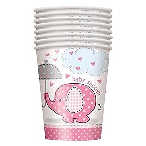Unique Party- Vasos de Papel Baby Shower con Elefante, 8 Unidades, Color rosa, 266 ml (41656)