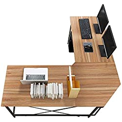 sogesfurniture Bureau Informatique Coin en Forme de L Table d'ordinateur en Bois, 150cm + 150cm Grand Station de Travail PC Gaming pour Maison et Bureau, Chêne LD-Z01OK-BH