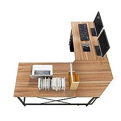 sogesfurniture Computertisch Eckschreibtisch in L-Form, großer Gaming Schreibtisch PC Tisch Winkelkombination Arbeitstisch Bürotisch, (150+150)*55 * 76 cm, Eiche LD-Z01OK-BH