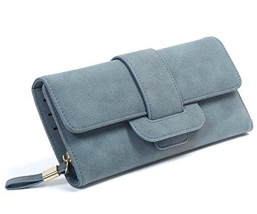 SAMGOO Damen Geldbörse Elegante PU Leder Trifold Lange Portemonnaie Mehrfachkarten Schlitze Kupplungs Geldbeutel (Blau) (Langen Geldbörse Kupplung)