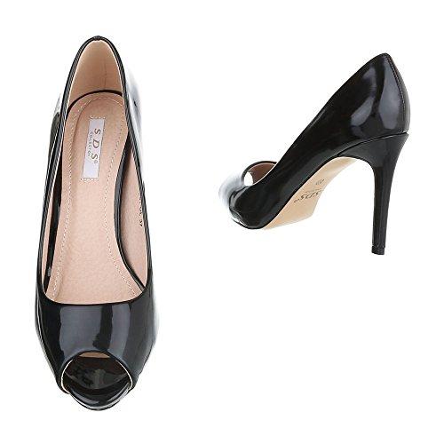 Peep Toe Damenschuhe Peep-Toe Pfennig-/Stilettoabsatz High Heels Ital-Design Pumps Schwarz