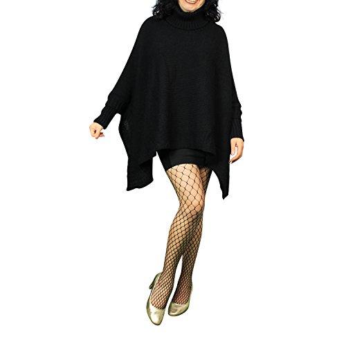 Poncho en tricot pour femme avec pompon détails pull pour femme top jY - 3 Braun01