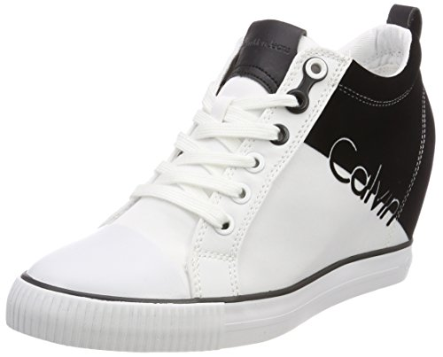 Calvin Klein Jeans Damen Rory Nylon/Flocking Hohe Sneaker, Weiß (WBA 000), 39 EU