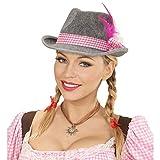 NET TOYS Schicker Damen-Trachtenhut | Filz grau mit Karoband & Federn rosa-weiß | Originelle Frauen-Kopfbedeckung Tiroler-Hut | EIN Highlight für Oktoberfest & Mottoparty
