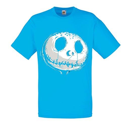 ngstigend Schädel Gesicht - Alptraum - Halloween-Party-Kleidung (Small Blau Mehrfarben) ()