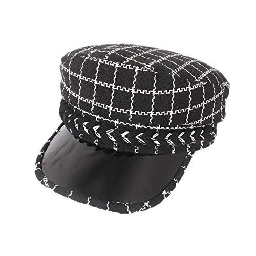 JunBo Retro-Tweed überprüfen Bashe koreanische Version lässige Kappe Ledermütze -