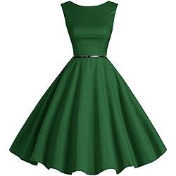 bbonlinedress 50s Retro Schwingen Vintage Rockabilly Kleid Faltenrock Green S