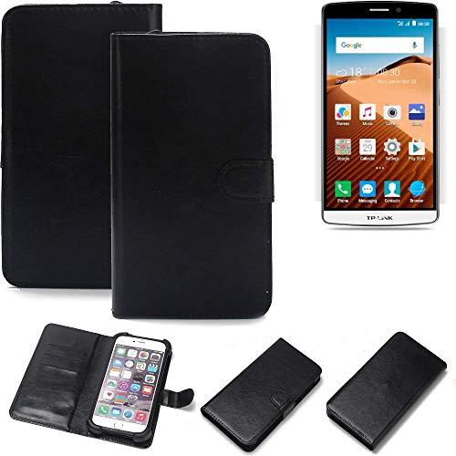 K-S-Trade 360° Wallet Case Handyhülle für TP-LINK Neffos C5 Max Schutz Hülle Smartphone Flip Cover Flipstyle Tasche Schutzhülle Flipcover Slim Bumper schwarz, 1x