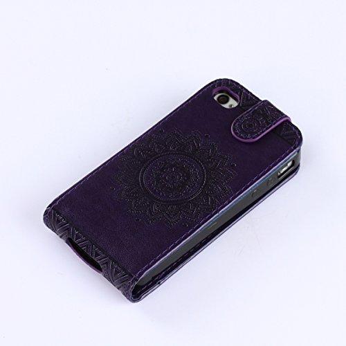 iPhone 4S Etui Portefeuille en Cuir,iPhone 4 Coque Folio Pu,iPhone 4/4S étui à Rabat Cuir Pu avec Magnétique Etui Housse de Protection élégant Lovely Sur Motif Ultra Slim Mince Luxe Mode Leather Pu Wa violet