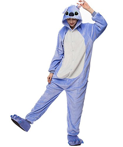 URVIP Neu Unisex Festliche Anzug Flanell Pyjamas Trickfilm Jumpsuit Tier Cartoon Fasching Halloween Kostüm Sleepsuit Party Cosplay Pyjama Schlafanzug Cartoon Small -