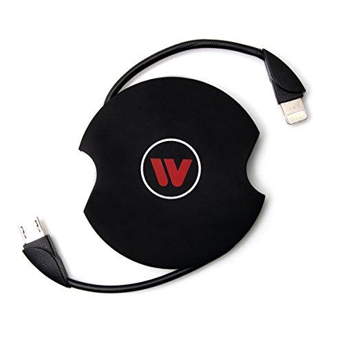 Maxfield 4310017 Wireless Charging Dongle, Adapter für Nicht QI (induktive Energieübertragung) kompatible Endgeräte, Smartphones, Induktions Empfänger, Mini USB, Lightning Stecker, Schwarz