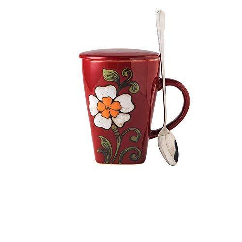 JJLEzlAM Tazas De Café Tazas De Desayuno Tazas De Té Cerámica Mark Cup Gran Capacidad para El Hogar Tazas De Esmalte Creativo con Tapa Cuchara para Beber Taza De Regalo Caja Regalos @ A