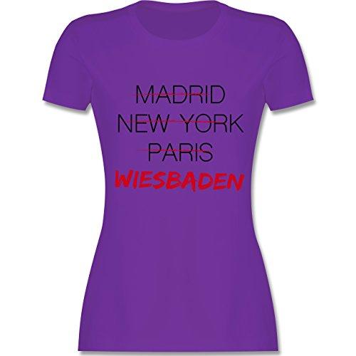 Städte - Weltstadt Wiesbaden - tailliertes Premium T-Shirt mit Rundhalsausschnitt für Damen Lila