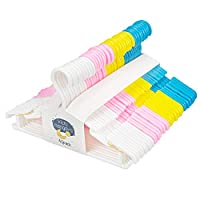 Tebery 40 Pack Plastic Nursery Hangers Baby Coat Hangers Space Saving Tubular Hangers for Kids Children Clothes Color: Blue/Pink/White/Yellow