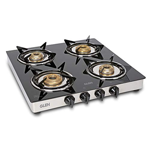 Glen 4 Burner LPG Gas Stove with SS Drip Tray (CT4B50SSBB Cooktop, Silver)