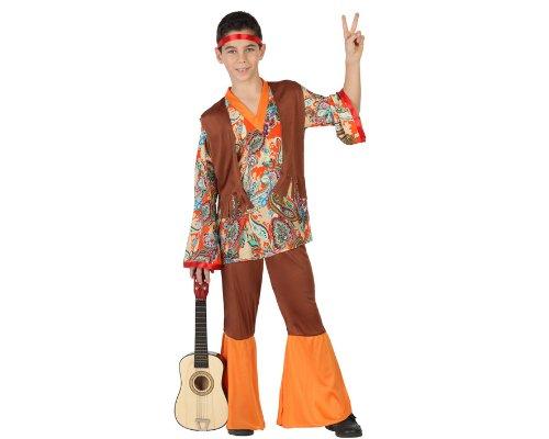 Atosa-23672 Disfraz Hippie, Color naranja, 10 a 12 años (23672