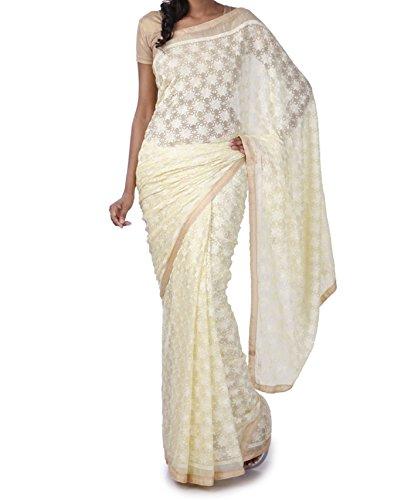 Chiffon phulkari Saree Without Blouse Piece Ethnic Bliss Lifestyles Phulkari off-White Chiffon...