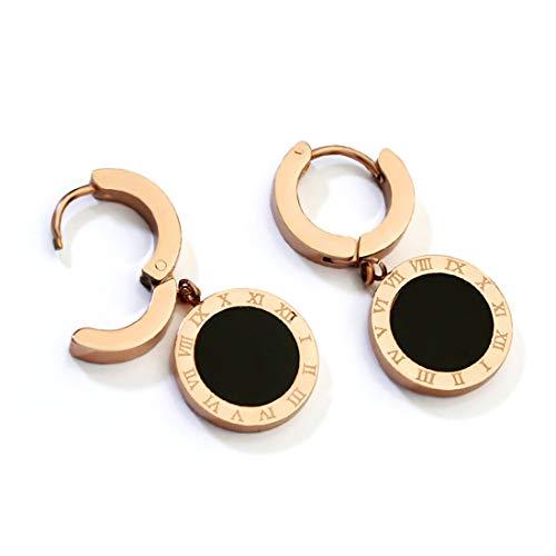 Ms. Swan®Schwarze minimalistische Roségold Ohrringe,Goldene runde Ohrringe