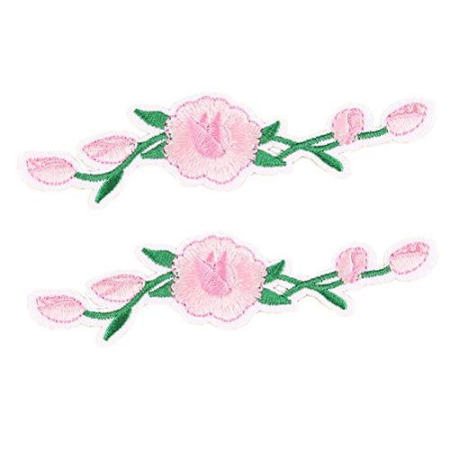 Aufnäher zum Aufbügeln, bestickt, Blumenmuster, für Kleidung, Jeans, Kleid, Tasche, Vorhang - 2 Pieces, Rose-D - La Rose 2 Tasche