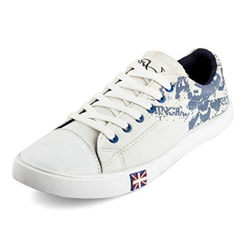J D Men's Blue Print Canvas Shoes Sneaker
