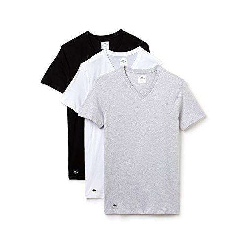 Baumwolle Mit V-ausschnitt-boxer (LACOSTE 3er Pack Herren T-Shirt, V-Neck, Slim Fit, Unifarben - Schwarz/Grau/Weiß: Größe: S (Gr. Small))