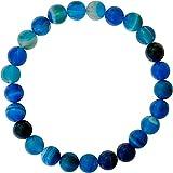Kaltner Präsente Power - Pulsera elástica con Piedras Preciosas de ágata Azul