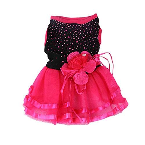 Qualität Premium Kostüm - Carry stone Premium-Qualität Rose Flower Gaze Tutu Kleid Hündchen Prinzessin Kleidung Kostüm für Chihuahua Pudel Yorkshire
