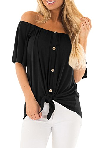 For G and PL Women Off Shoulder Sexy Summer Button Tops Blouses