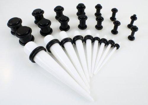 9 Pc White-Expander (1,6 mm-10 mm (14G g-00 & 14 Pc Ear Plug (2,4 mm-10 mm, confezione da 10 g) g-00-Set di sagome Taper in acrilico